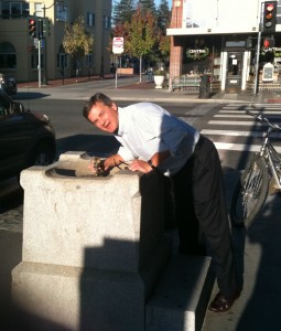Drinking from Petaluma's Prohibition era drinking fountain